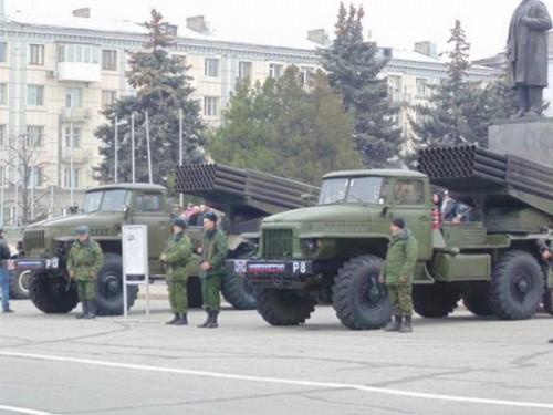 Российские оккупанты в Луганске. 1 ноября 2014 года