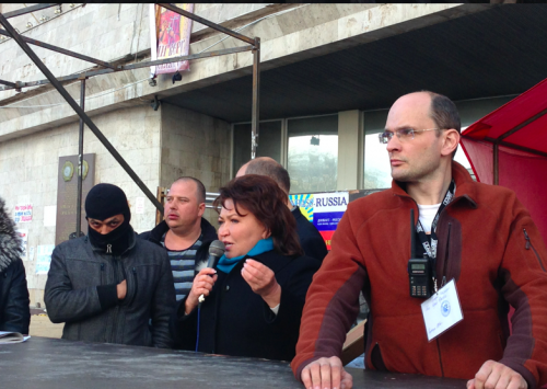 На фото Бахтеєва виступає на мітингу за сепаратистів у Донецьку, 2014 рік